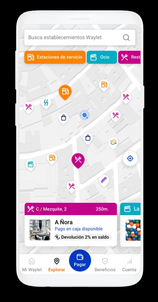 Buscar comercios de la red Waylet y paga con tu app